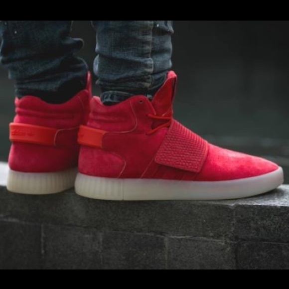 buy online a4408 95b49 ADIDAS Tubular Invader Strap 11 Red Sneakers NEW